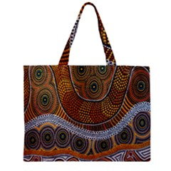 Aboriginal Traditional Pattern Zipper Mini Tote Bag by Onesevenart