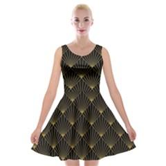 Abstract Stripes Pattern Velvet Skater Dress