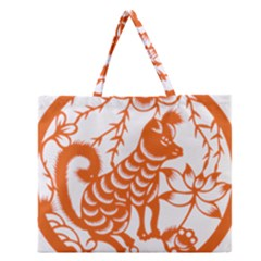 Chinese Zodiac Dog Zipper Large Tote Bag by Onesevenart