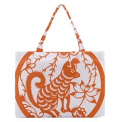 Chinese Zodiac Dog Medium Zipper Tote Bag by Onesevenart