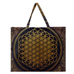 Bring Me The Horizon Cover Album Gold Zipper Large Tote Bag by Onesevenart