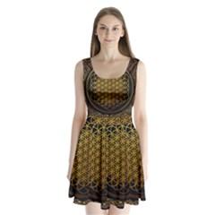 Bring Me The Horizon Cover Album Gold Split Back Mini Dress  by Onesevenart