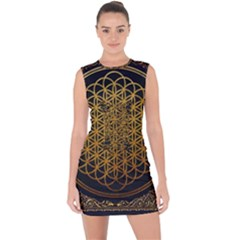 Bring Me The Horizon Cover Album Gold Lace Up Front Bodycon Dress by Onesevenart