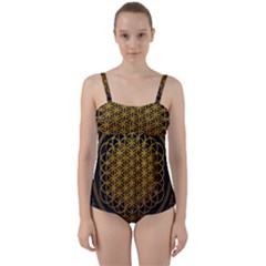 Bring Me The Horizon Cover Album Gold Twist Front Tankini Set by Onesevenart