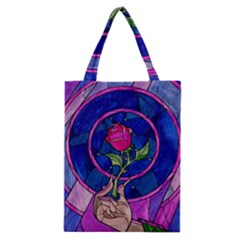 Enchanted Rose Stained Glass Classic Tote Bag by Onesevenart