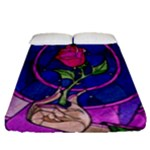 Enchanted Rose Stained Glass Fitted Sheet (Queen Size)