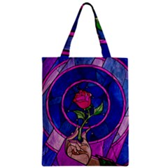 Enchanted Rose Stained Glass Zipper Classic Tote Bag by Onesevenart