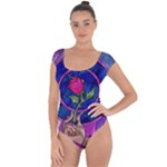 Enchanted Rose Stained Glass Short Sleeve Leotard