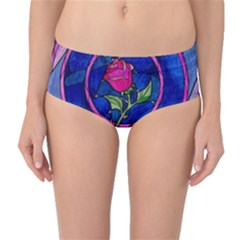 Enchanted Rose Stained Glass Mid Waist Bikini Bottoms by Onesevenart
