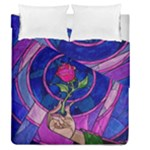 Enchanted Rose Stained Glass Duvet Cover Double Side (Queen Size)