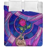 Enchanted Rose Stained Glass Duvet Cover Double Side (California King Size)