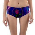 Enchanted Rose Stained Glass Reversible Mid-Waist Bikini Bottoms