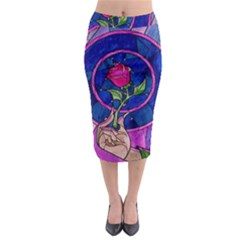Enchanted Rose Stained Glass Midi Pencil Skirt by Onesevenart