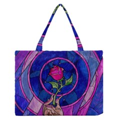 Enchanted Rose Stained Glass Medium Zipper Tote Bag by Onesevenart