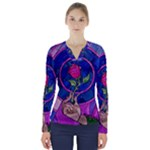 Enchanted Rose Stained Glass V-Neck Long Sleeve Top