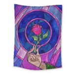 Enchanted Rose Stained Glass Medium Tapestry