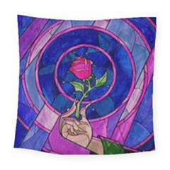 Enchanted Rose Stained Glass Square Tapestry (large) by Onesevenart