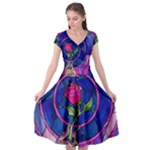 Enchanted Rose Stained Glass Cap Sleeve Wrap Front Dress