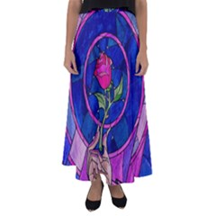 Enchanted Rose Stained Glass Flared Maxi Skirt by Onesevenart