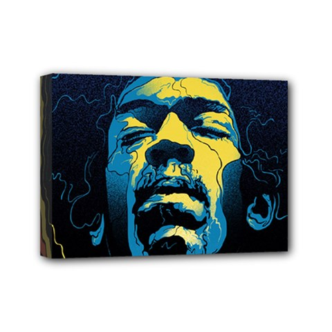 Gabz Jimi Hendrix Voodoo Child Poster Release From Dark Hall Mansion Mini Canvas 7  X 5  by Onesevenart