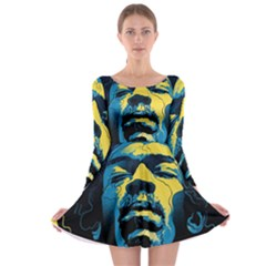 Gabz Jimi Hendrix Voodoo Child Poster Release From Dark Hall Mansion Long Sleeve Skater Dress by Onesevenart