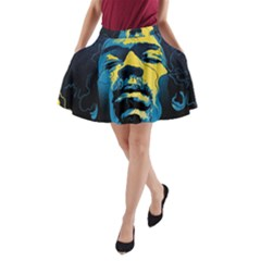 Gabz Jimi Hendrix Voodoo Child Poster Release From Dark Hall Mansion A Line Pocket Skirt by Onesevenart