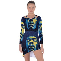 Gabz Jimi Hendrix Voodoo Child Poster Release From Dark Hall Mansion Asymmetric Cut Out Shift Dress by Onesevenart