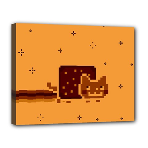 Nyan Cat Vintage Canvas 14  X 11  by Onesevenart