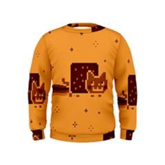 Nyan Cat Vintage Kids  Sweatshirt by Onesevenart