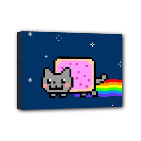 Nyan Cat Mini Canvas 7  X 5  by Onesevenart