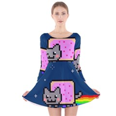Nyan Cat Long Sleeve Velvet Skater Dress by Onesevenart