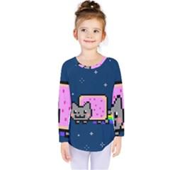 Nyan Cat Kids  Long Sleeve Tee by Onesevenart