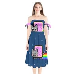 Nyan Cat Shoulder Tie Bardot Midi Dress by Onesevenart