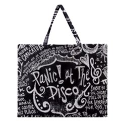 Panic ! At The Disco Lyric Quotes Zipper Large Tote Bag by Onesevenart