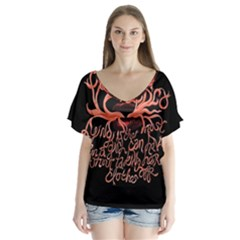 Panic At The Disco   Lying Is The Most Fun A Girl Have Without Taking Her Clothes Flutter Sleeve Top by Onesevenart