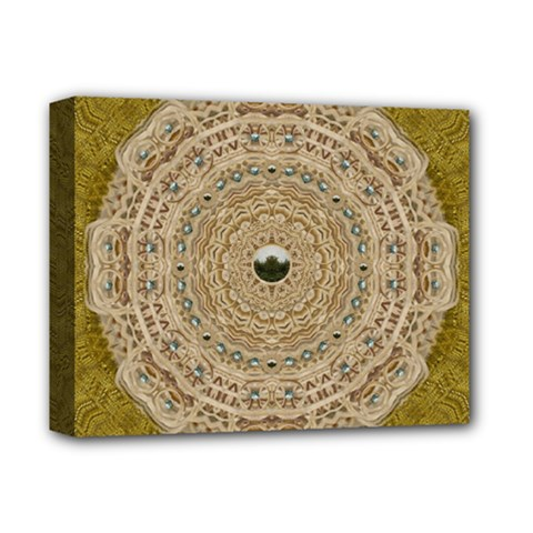 Golden Forest Silver Tree In Wood Mandala Deluxe Canvas 14  X 11  by pepitasart