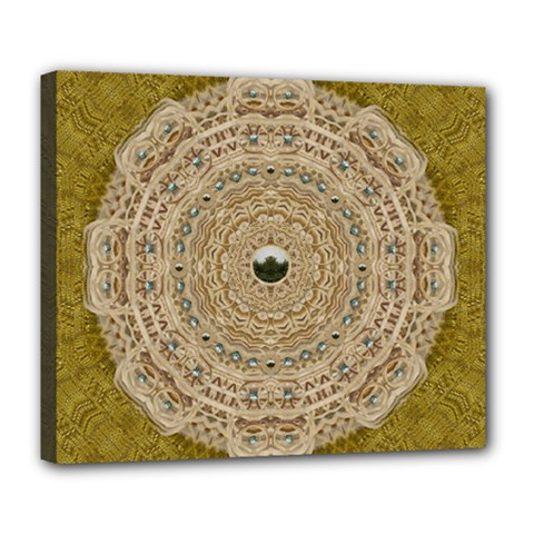 Golden Forest Silver Tree In Wood Mandala Deluxe Canvas 24  X 20   by pepitasart