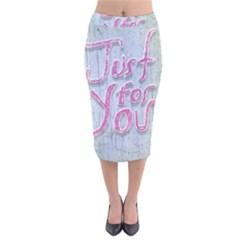 Letters Quotes Grunge Style Design Velvet Midi Pencil Skirt by dflcprints