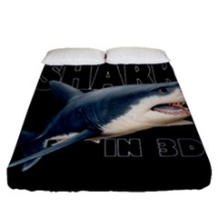 The Shark Movie Fitted Sheet (queen Size) by Valentinaart