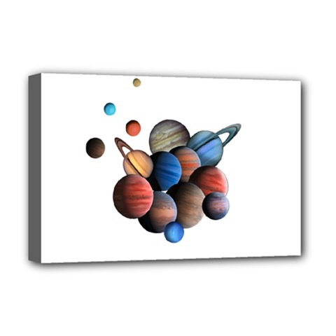 Planets  Deluxe Canvas 18  X 12   by Valentinaart