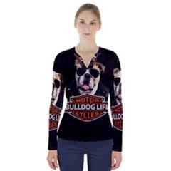 Bulldog Biker V Neck Long Sleeve Top