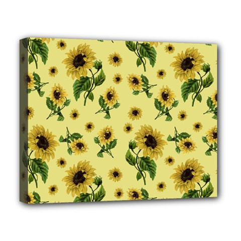 Sunflowers Pattern Deluxe Canvas 20  X 16   by Valentinaart