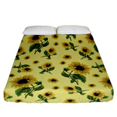 Sunflowers Pattern Fitted Sheet (california King Size) by Valentinaart