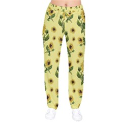Sunflowers Pattern Drawstring Pants by Valentinaart