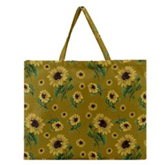 Sunflowers Pattern Zipper Large Tote Bag by Valentinaart