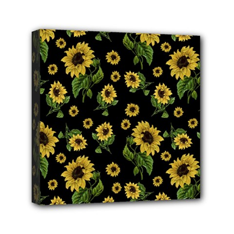 Sunflowers Pattern Mini Canvas 6  X 6  by Valentinaart