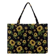 Sunflowers Pattern Medium Tote Bag by Valentinaart