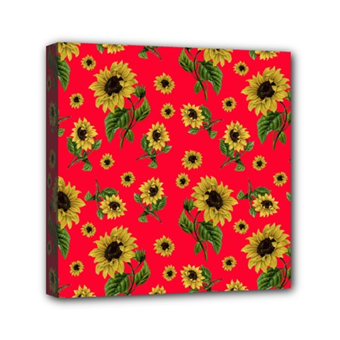 Sunflowers Pattern Mini Canvas 6  X 6  by Valentinaart