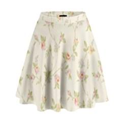 Floral Paper Pink Girly Cute Pattern  High Waist Skirt by paulaoliveiradesign