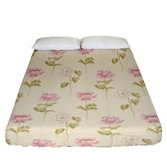 Floral Paper Illustration Girly Pink Pattern Fitted Sheet (queen Size) by paulaoliveiradesign
